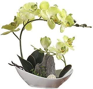 LOUHO Artificial Phaleanopsis Arrangement with Vase Decorative Orchid Flower Bonsai Rockery Series (Green Orchid+Mountain)