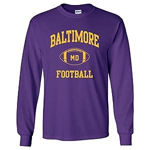 Baltimore Classic Football Arch American Football Team Long Sleeve T Shirt - 3X-Large - Purple