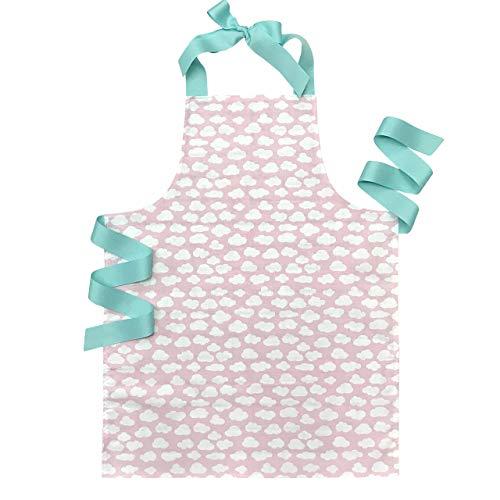 Handmade Pink Happy Little Clouds Tween Girl Apron Gift for Baking Kitchen Art