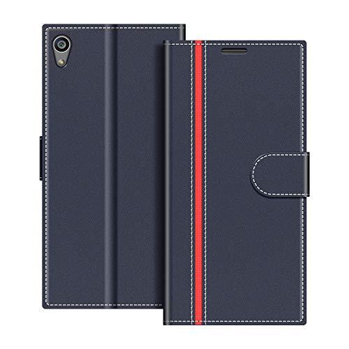 COODIO Handyhülle für Sony Xperia Z5 Handy Hülle, Sony Xperia Z5 Hülle Leder Handytasche für Sony Xperia Z5 Klapphülle Tasche, Dunkel Blau/Rot