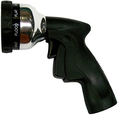 Plastair Spring Nozzle WN-G-7M-AMZ All Metal 9-Pattern Spray Nozzle with Trigger Lock, Chrome