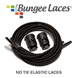 iBungee Laces (Elastic No Tie Shoelaces) (Black, 22-Inch)...
