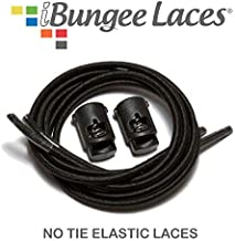 iBungee Laces (Elastic No Tie Shoelaces) (Black, 26-Inch)