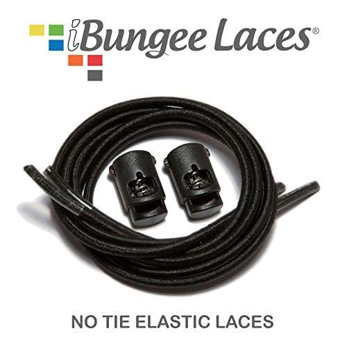 iBungee Laces (Elastic No Tie Shoelaces) (Black, 34-Inch)