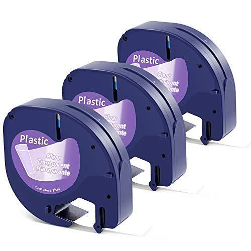 Aken kompatibel Etikettenband als Ersatz für Dymo Letratag Transparent Kunststoff Band, Clear Plastic Label Tape 12mm x 4m schwarz auf transparent für Dymo LT-100H LT-100T LT-110T, 12267 3er-Packung