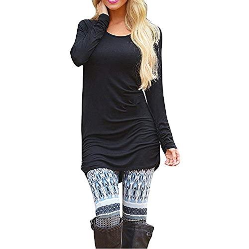 Sherosa Long Shirts for Women to Wear with Leggings Plus Basic Long Sleeve T Shirts Slim Fit Tees (L, Black)