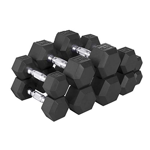 CAP Barbell 150 LB Hex Dumbbell Weight Set, Black,...