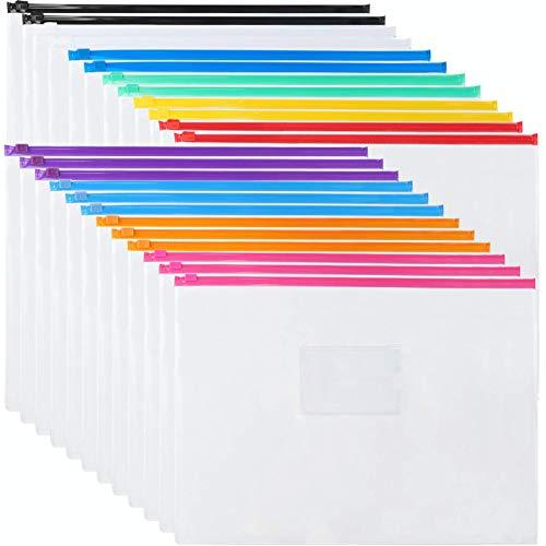 EOOUT 24pcs Plastic Envelopes Poly Zip Envelopes Files Zipper Folders, A4 Size/Letter Size, 10 Colors, for School, Office