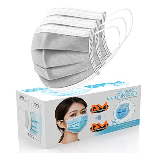 [50 Pc/Box] Face Mask Disposable Non Surgical 3-Ply Earloop Mouth Cover Masks- Silver (USA Seller in stock)