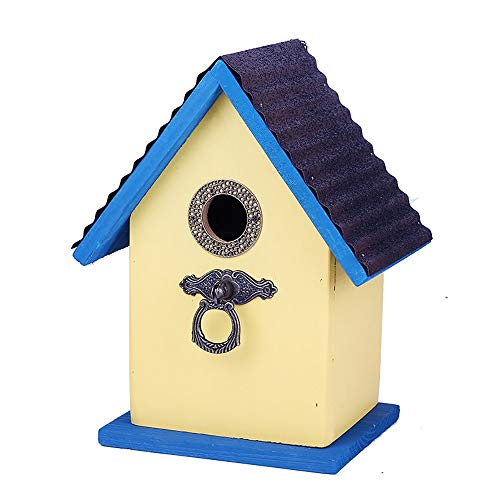 Casas para pájaros Casa de Madera Bird Garden Birdhouse for el Exterior al Aire Libre Decoración Azul para pájaros del jardín (Color : Blue, Size : 19.5x15x25cm)