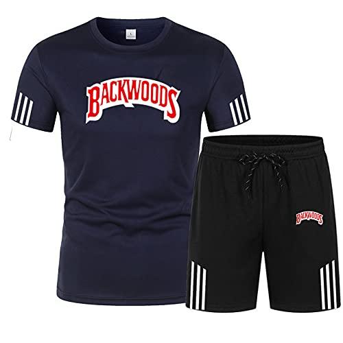 Camiseta y Pantalones Cortos Casuales para Hombre Trajes Chándales de 2 Piezas Traje Camiseta de Manga Corta y Pantalones Cortos Conjunto de Pantalones Cortos y Camisetas para Hombre Azul-1 XXL