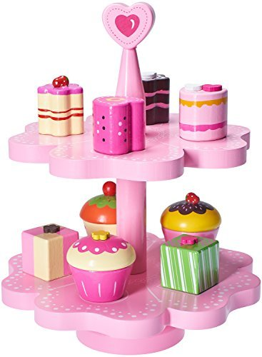 Dragon Drew Kids Pink Wood Play Cake Stand Set for Girls - 10 Piece Magnetic Wooden Playtime Toy Set with Assorted Cupcakes, Cakes, Desserts - Fun Imaginative Play