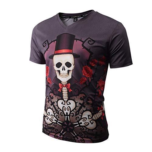 XJWDTX T-Shirt À Manches Courtes pour Hommes, Col V 3D Numérique Squelette avec Impression du Diable, Marée