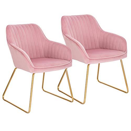 WOLTU Esszimmerstühle BH246rs-2 2er Set Küchenstuhl Polsterstuhl Wohnzimmerstuhl Sessel mit Armlehne, Sitzfläche aus Samt, Gold Beine aus Metall, Rosa