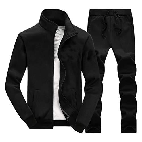 LaoZan Herren Stehkragen Trainingsanzug Suit Elastizität Sport Jacke Trainings Jogging Hose 2 Pcs Warm Halten Atmungsaktiv (Schwarz#1,XL)