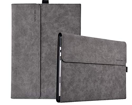LnarrCase Surface Pro Case for Microsoft Surface Pro 7 / Pro 6 / Pro 5 / Pro 4 12.3 Inch Tablet Multiple Angle Viewing Compatible with Type Cover Keyboard -Grey