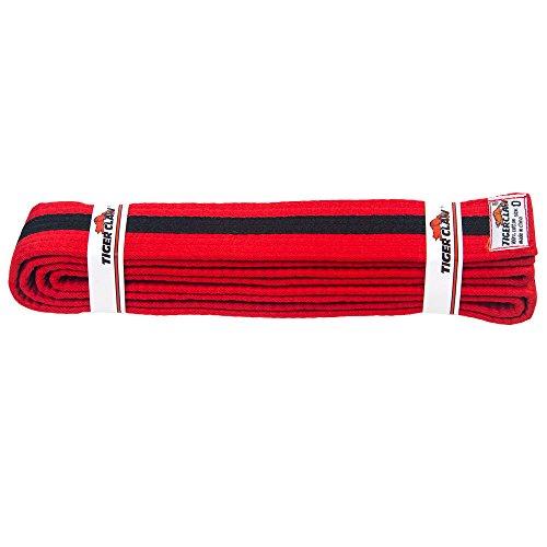 Tiger Claw 100% algodón artes marciales uniforme cinturón–Color Sólido Con Rayas, color negro, Red with Black Stripe