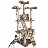 Bakaji Arañador para Gatos, de Sisal, Parque de Juegos y Caseta, 170 cm de alto, color beige con motivo de cachorro