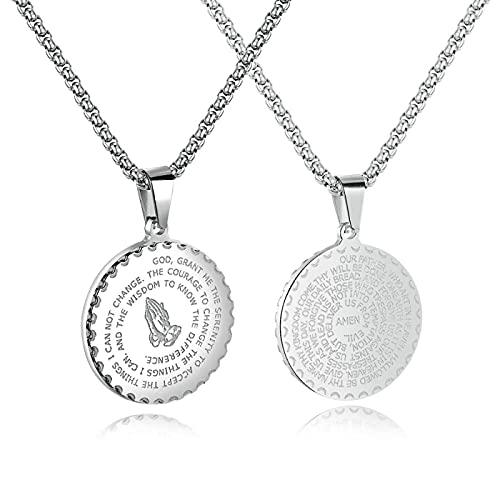 Medalla de la Moneda de la Biblia de Oro Manos De Oración Colgante &Cadena de Acero Inoxidable SilverColor