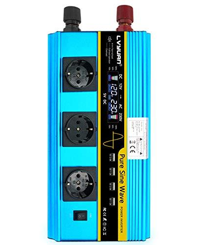 Inversor de alimentación 5000W Onda sinusoidal Pura 12V a AC 230V convertidor de automóvil inversor de energía USB Puerto de Carga LCD con inversor inalámbrico de en
