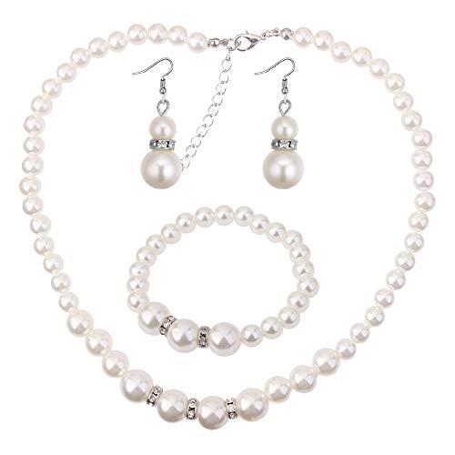 Erin Champú Clásico Europeo Y Americano Anillo De Circón Collar De Perlas Conjunto Pendientes De Temperamento De Niña Collar Pulsera De Tres Piezas