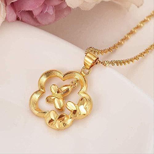 CCXXYANG Co.,ltd Collar Collar De Flores con Colgante Mujeres/Hombres Amantes De La Joyería Flor De Color Dorado Romántico Fancy Charms Jewelry
