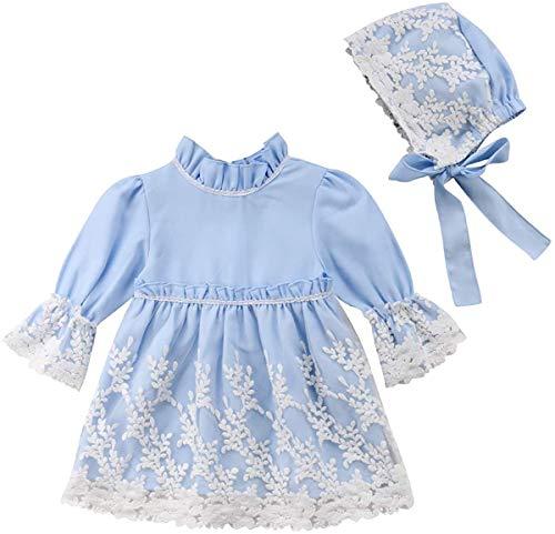 Abito Bambina da Principessa Vestito da Cerimonia a Maniche Lunghe con Pizzo Floreale + Cappello 2 Pezzi Carino Elegante 1-5 Anni (Blu, 6-12 Mesi)