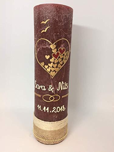 RUSTICA, VINTAGE, SHABBY, Rustikal, Hochzeitkerze, Hochzeitskerze, Herz füllt sich mit Liebe, inkl Wachsbeschriftung