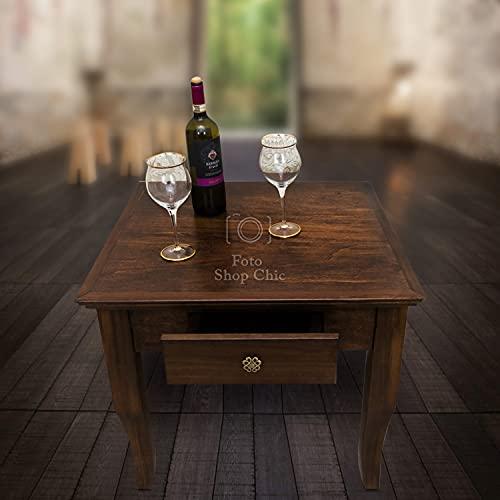 SHOP CHIC tavolino Basso Quadrato da Salotto in Legno Noce Arte povera