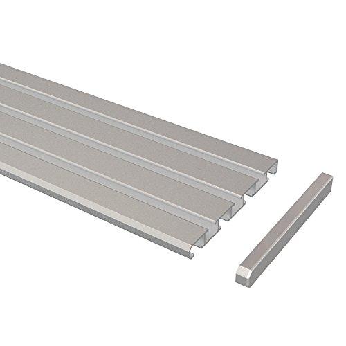 Flairdeco Vorhangschiene 3-/4-läufig Wendeprofil, Aluminium, Silbergrau, 100 cm