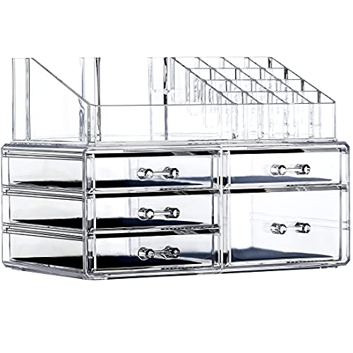 Cq acrylic Extra Large Clear Makeup Organizer Storage Case,5 Drawers Easily Organize Your Cosmetics,Jewelry and Hair Accessories.Looks Elegant Sitting on Your Vanity, Bathroom Counter or Dresser