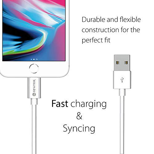 USB Charger, Spater Travel Home Wall Charger and a Charging Cable C ompatible with iPhone X, iPhone 8, iPhone 7, iPhone 6, iPhone 5, iPad Mini, iPod Touch, iPods (White)