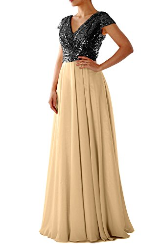 MACloth Women Cap Sleeve V Neck Long Evening Gown Sequin Mother of Bride Dresses