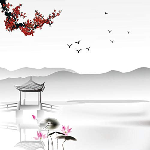 Qoalips Asian 5D DIY Diamond Painting Kits for Adults, Japanese Style Garden Bird and Small Pavilion Over The Lake Lotus Waterlily Diamond Painting by Numbers Full Drill, 16x16 Inch Grey Pink