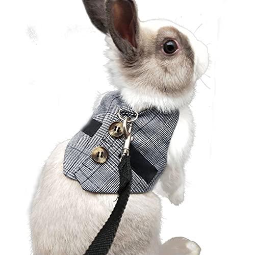 Verstellbares Kaninchengeschirr, Kleines Haustiergeschirr und Bleiset , für Kleine Tiere Bunny Hamsters Cats(Grau M)