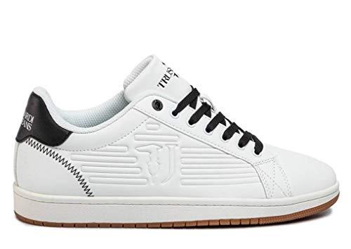 Trussardi Jeans 77A00215 Wit Zwart Heren Sneaker Sportschoenen Casual