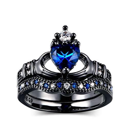 ANAZOZ Anillo Chapado En Negro Oro Mujer Corazón Corona Claddagh con Circonita Blanca Azul Negro Azul Talla 17