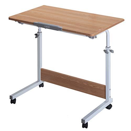 Mesa Lateral con Ruedas y Pies Ajustable,MDF,portátil,(dispositivo de bloqueo)(ángulo ajustable),se puede utilizar como escritorios,escritorios y mesas de estudio,color blanco arce/teca,varios tamañ