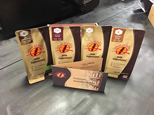 Probierset Kaffee ganze Bohne 4 Packungen a 250 gr. Kaffee der Rösterei Mondo del Caffè (eine der besten Kaffeeröstereien Deutschlands, Feinschmecker 2018) im Geschenkkarton mit Begleitheft