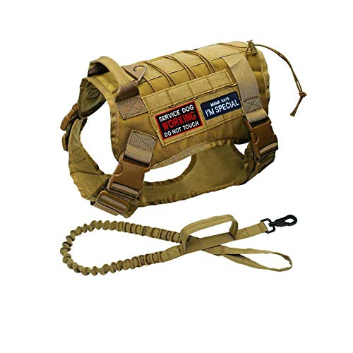 QuaQuaPet Tactical Military Dog Vest Harness and Leash Set with Buckles & Loop Hook and Patch Tags for K9 Training Medium Large Dogs (L, Khaki)
