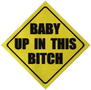 Car Stickers & Decals - 4x4 Inch Yellow Warning Baby In Car Vinyl Decal Sticker Funny Auto Reflective Graphic - Baby In Car Sticker - 1PCs