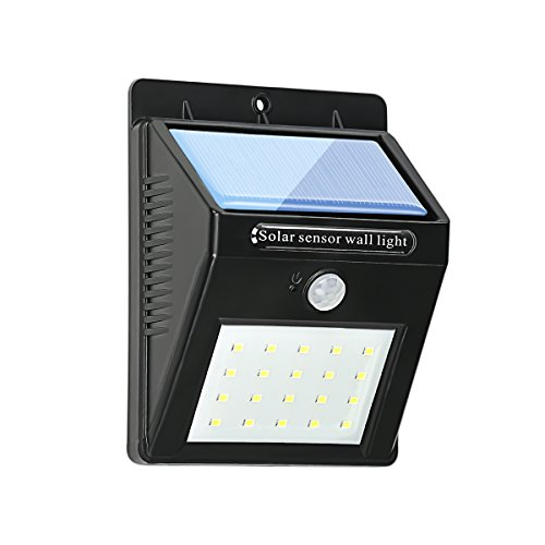 Lámpara Solar LED,Foco Solar Exterior,Luces Solar de Pared,20 LED,1200mAh IP65 Impermeable,Luz Solar Jardin con Sensor Movimiento