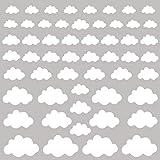 PREMYO 54 Nubes Pegatinas Pared Infantil - Vinilos Decorativos Habitación Bebé Niños - Fácil de Poner Blanco