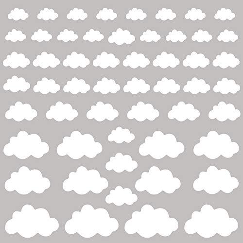 PREMYO 54 Wolken Wandsticker Kinderzimmer Mädchen Jungen - Wandtattoo - Wandaufkleber Selbstklebend Weiß