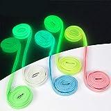 5 Pair Luminous Flat Shoelaces Colorful Fluorescent Light Up Sport Shoelaces Adults Kids Christmas Day Party