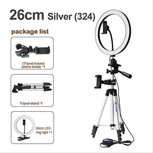 16/20 / 26cm Fotografía Regulable Led Selfie Ring Light Video Live 5500k Photo Studio Light con Soporte para teléfono USB un tamaño 26cm Tipo 3 en 1