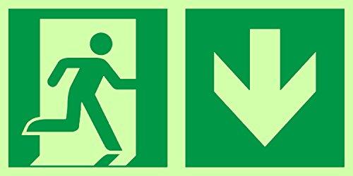 Anro Warnschild für Notausgang E002/4 | Nachleuchtendes PVC Sicherheitsschild Fluchtweg | Selbstklebend Rettungsweg-Schild für Betriebe, Produktion & Kliniken | Farbe: Grün