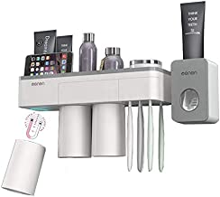 BHeadCat Magnetic Toothbrush Holder and Automatic Toothpaste Dispenser Squeezer, Wall Mounted Space Saving Toothbrush Organizer with Cover,3 Magnetic Cups and Cosmetic Organizer and Drawer (3 Cups)