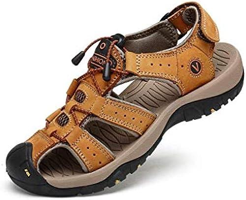 Fuxitoggo Sommer Herren Leder Strand Sandalen Outdoor Sports Walking Trekking Sandalen Closed-Toe Klettverschluss Breathable Trekking Sandalen Schuhe (Farbe   1, Größe   44) (Farbe   1, Größe   39)