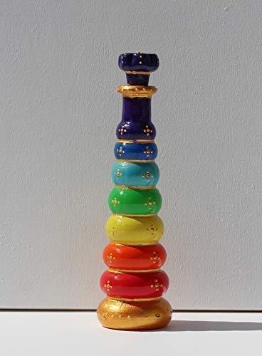 Kleine Flasche in Chakra Farben, Unikat Glas Dekoration im Boho Stil, Wellness Geschenk für Einzug oder Praxis Eröffnung, INaCHI Glückabringer Design-Serie
